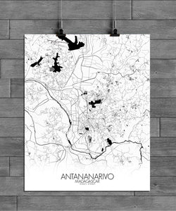 Antananarivo Black and White full page design poster city map