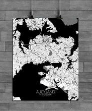 Load image into Gallery viewer, Auckland Black and White full page design poster city map