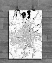 Load image into Gallery viewer, Bishkek Black and White full page design poster city map