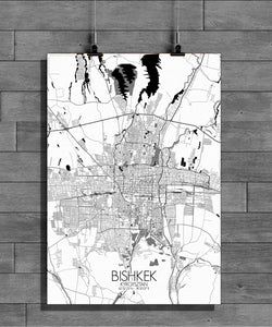 Bishkek Black and White full page design poster city map