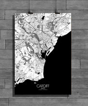 Load image into Gallery viewer, Mapospheres Cardiff Black and White dark full page design poster city map