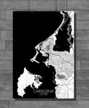 Load image into Gallery viewer, Cartagena Black and White full page design poster city map