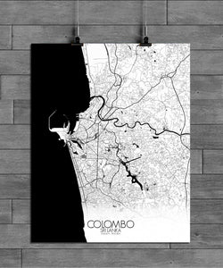 Mapospheres Colombo Black and White full page design poster city map