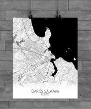 Load image into Gallery viewer, Mapospheres Dar Es Salaam Black and White full page design poster city map