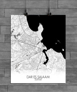 Mapospheres Dar Es Salaam Black and White full page design poster city map