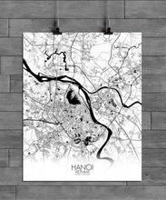Load image into Gallery viewer, Hanoi Black and White full page design poster city map
