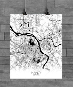 Hanoi Black and White full page design poster city map