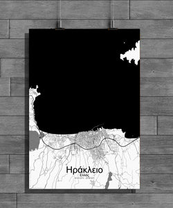 Heraklion Black and White full page design poster city map