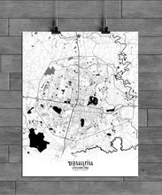 Load image into Gallery viewer, Khonkaen Black and White full page design poster city map