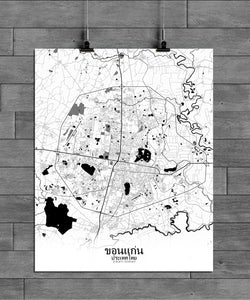 Khonkaen Black and White full page design poster city map