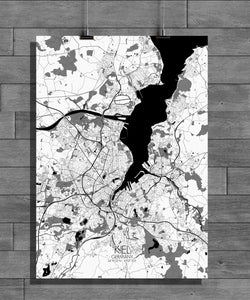 Kiel Black and White full page design poster city map