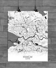 Load image into Gallery viewer, Krakow Black and White full page design poster city map