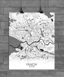 Krakow Black and White full page design poster city map