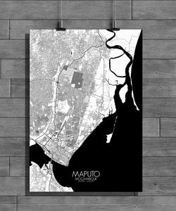 Maputo Black and White full page design poster city map