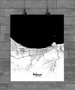Muscat Black and White full page design poster city map