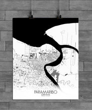 Load image into Gallery viewer, Paramaribo Black and White round shape design poster city map