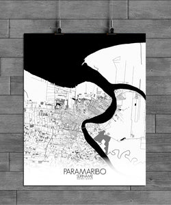 Paramaribo Black and White round shape design poster city map