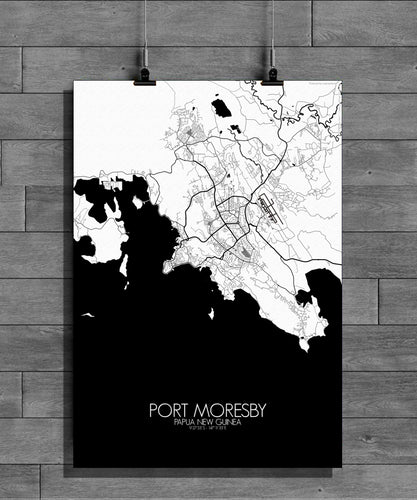Port Moresby Black and White full page design poster city map