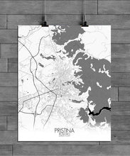 Load image into Gallery viewer, Pristina Black and White full page design poster city map
