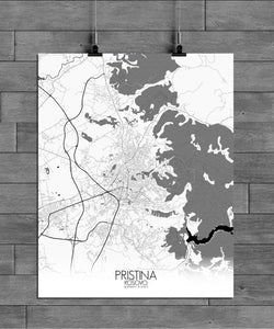 Pristina Black and White full page design poster city map