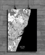 Load image into Gallery viewer, Recife Black and White full page design poster city map