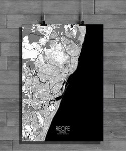 Recife Black and White full page design poster city map