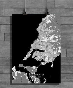 Aberdeen Black and White full page design poster city map