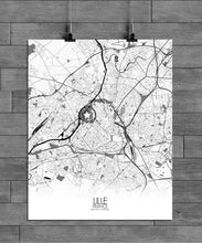 Load image into Gallery viewer, Mapospheres Lille Black and White full page design poster city map