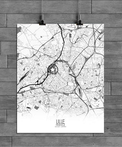 Mapospheres Lille Black and White full page design poster city map