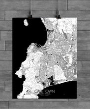 Load image into Gallery viewer, Mapospheres Cape Town Black and White full page design poster city map
