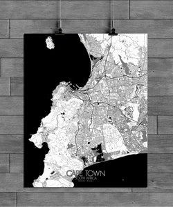 Mapospheres Cape Town Black and White full page design poster city map