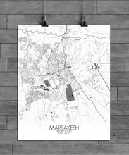 Load image into Gallery viewer, Mapospheres Marrakesh Black and White full page design poster city map