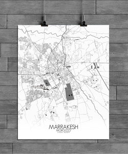 Mapospheres Marrakesh Black and White full page design poster city map