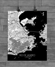 Load image into Gallery viewer, Mapospheres Rio de Janeiro Black and White full page design poster city map