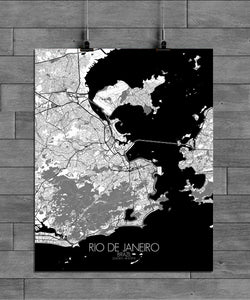 Mapospheres Rio de Janeiro Black and White full page design poster city map