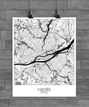 Load image into Gallery viewer, Mapospheres Nantes Black and White full page design poster city map