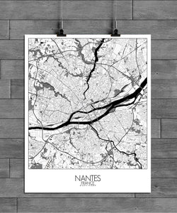 Mapospheres Nantes Black and White full page design poster city map