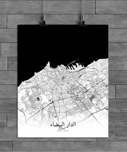 Load image into Gallery viewer, Mapospheres Casablanca Black and White full page design poster city map