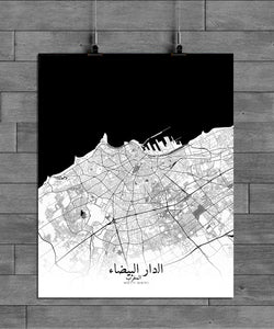 Mapospheres Casablanca Black and White full page design poster city map