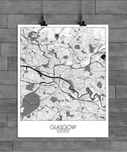 Load image into Gallery viewer, Mapospheres Glasgow Black and White full page design poster city map