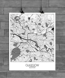 Mapospheres Glasgow Black and White full page design poster city map
