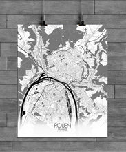 Load image into Gallery viewer, Mapospheres Rouen Black and White full page design poster city map