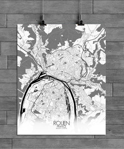Mapospheres Rouen Black and White full page design poster city map