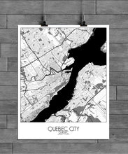 Load image into Gallery viewer, Mapospheres Quebec Black and White full page design poster city map