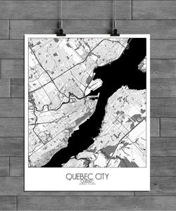 Mapospheres Quebec Black and White full page design poster city map