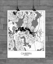 Load image into Gallery viewer, Mapospheres Canberra Black and White full page design poster city map