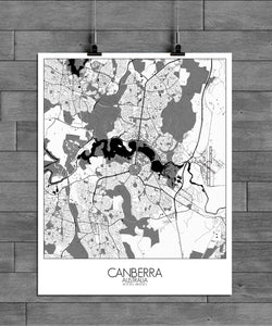 Mapospheres Canberra Black and White full page design poster city map