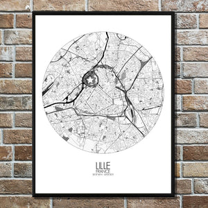 Mapospheres Lille Black and White round shape design poster city map