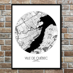 Mapospheres Quebec Black and White round shape design poster city map