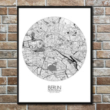 Load image into Gallery viewer, Mapospheres Montreal Black and White round shape design poster city map